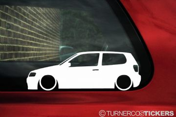 2x Low car outline stickers - for Volkswagen Polo 6n2 facelift GTi / TDi